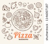vector black pizza icon on... | Shutterstock .eps vector #1146007187
