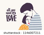 embracing young man and woman... | Shutterstock .eps vector #1146007211