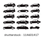 Stock vector modern and vintage cars silhouettes collection 114601417