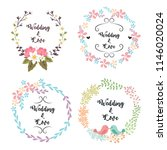 floral round frame for wedding... | Shutterstock .eps vector #1146020024