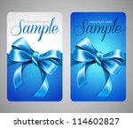 blue gift cards with bow | Shutterstock .eps vector #114602827
