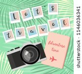 Summer Travel card template with photo camera, polaroid photo shoots and notebook. Tropical background. Let's travel cards flatly. Professional retro camera.