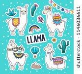 llama or alpaca hand drawn... | Shutterstock .eps vector #1146036611