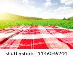 summer photo of empty blanket... | Shutterstock . vector #1146046244