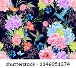 hummingbird birds and flowers.... | Shutterstock . vector #1146051374