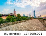 ancient city walls and temples... | Shutterstock . vector #1146056021