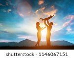happy family together outside... | Shutterstock . vector #1146067151
