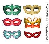 masquerade party masks.... | Shutterstock .eps vector #1146073247