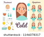 infographics of the common cold.... | Shutterstock .eps vector #1146078317