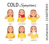 symptoms of a cold. a girl with ... | Shutterstock .eps vector #1146078341