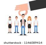 employer hand choosing man from ... | Shutterstock .eps vector #1146089414