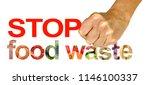 stop food waste   female hand...   Shutterstock . vector #1146100337