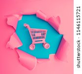 shoping cart with vivid pink... | Shutterstock . vector #1146115721
