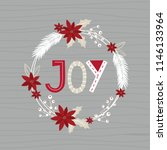 christmas card with wreath and... | Shutterstock .eps vector #1146133964