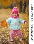 cute happy girl in autumn park | Shutterstock . vector #1146141044