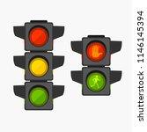 cartoon traffic light different ... | Shutterstock .eps vector #1146145394