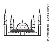 blue mosque istanbul icon.... | Shutterstock .eps vector #1146145994