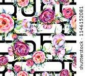 watercolor bouquet pink peony... | Shutterstock . vector #1146152081