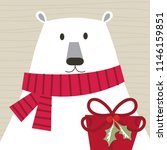 christmas card with cute bear... | Shutterstock .eps vector #1146159851