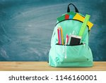 school bag with stationery and... | Shutterstock . vector #1146160001
