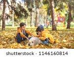 a small three boys emotionally... | Shutterstock . vector #1146160814
