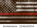 An aged textured firefighter support flag with a thin blue line.