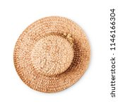 Straw Hat With Flower Isolated...