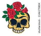 frida khalo skull mascot.... | Shutterstock .eps vector #1146170804