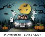family driving in car with... | Shutterstock .eps vector #1146173294