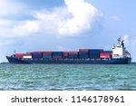 container cargo ship underway.  ... | Shutterstock . vector #1146178961
