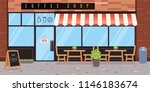 coffee shop exterior. vector... | Shutterstock .eps vector #1146183674