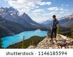 young girl enjoying the... | Shutterstock . vector #1146185594