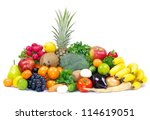 fresh vegetables and fruits on... | Shutterstock . vector #114619051