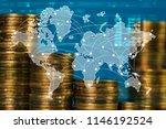 double exposure of coin stack... | Shutterstock . vector #1146192524