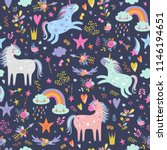 seamless pattern with unicorns. | Shutterstock .eps vector #1146194651