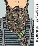 hipster head with blooming... | Shutterstock .eps vector #1146203171