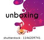 girl open box in flat style.... | Shutterstock .eps vector #1146209741