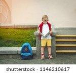 back to school. little boy in... | Shutterstock . vector #1146210617