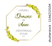 wedding invite with green leaves | Shutterstock .eps vector #1146213104