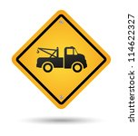 yellow tow road sign isolated | Shutterstock .eps vector #114622327
