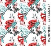 summer flowers seamless pattern.... | Shutterstock . vector #1146223637
