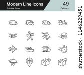 delivery icons. modern line... | Shutterstock .eps vector #1146229451