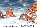 snow covered mountains with... | Shutterstock . vector #1146234254