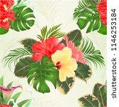 seamless texture bouquet with... | Shutterstock .eps vector #1146253184