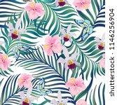 summer seamless jungle pattern. ... | Shutterstock .eps vector #1146256904