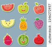 smiling fresh watermelon  apple ... | Shutterstock .eps vector #1146272957