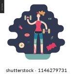 gym   a girl llifting weights... | Shutterstock .eps vector #1146279731