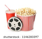 bucket with tasty popcorn ... | Shutterstock . vector #1146283397