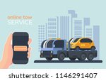 Online service for evacuate of faulty vehicles. Tow truck. Wrecker car. Lorry with platform. Road service and help. City background. - stock vector