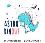 space and dinosaur  hand... | Shutterstock .eps vector #1146299354